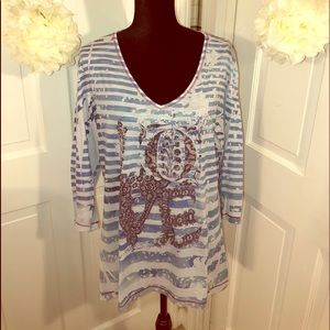 Style&Co. Women's Tunic Stripe LOVE Top